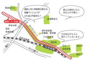 江古田の商店街をつぶす補助172号線